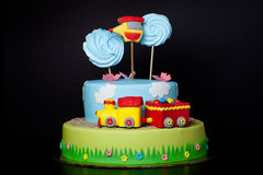Cake with mastic for children`s birthday Royalty Free Stock Photo