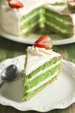 Cake with Matcha and strawberry Stock Photos