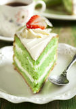 Cake with Matcha and strawberry Royalty Free Stock Image