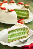 Cake with Matcha and strawberry Stock Photo