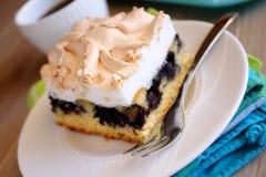 Cake med blåbär och maräng Royaltyfri Foto