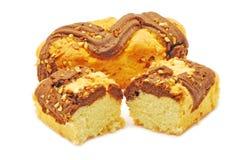 Cake med choklad och vanilj Arkivbilder