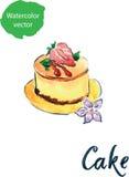 Cake med jordgubben Arkivbild