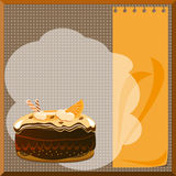 Cake menu. Form on the menu with a chocolate orange cake Stock Photography