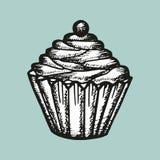 Cake met bessen vectorschets Stock Foto