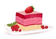 Cake met bessengelei, vectortekening, geschilderd dessert Een stuk van de cake van het marmeladefruit op de plaat met bessen, iso stock illustratie