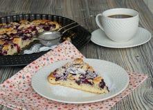 Smakelijke cake met blackcurrant en kersen Royalty-vrije Stock Afbeelding