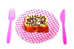 Cake met chocolade speckeles Royalty-vrije Stock Afbeelding
