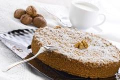 Cake met de Chocolade en de Okkernoten van Ricotta Stock Fotografie