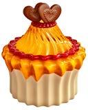 Cake met de frambozenjam van de citroengelei en twee harten Royalty-vrije Stock Afbeelding