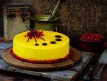 Cake met een spiegeldeklaag wordt behandeld, met Amerikaanse veenbessen en chocoladedecor dat wordt verfraaid Moderne Russische h Royalty-vrije Stock Afbeeldingen