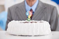 Cake met een vraagteken royalty-vrije stock fotografie