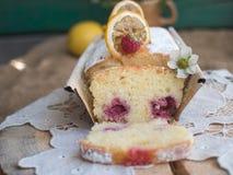 Cake met frambozen royalty-vrije stock foto