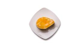 Cake met fruitgelei op plaat, hoogste mening Royalty-vrije Stock Foto's