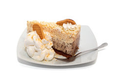 Cake met geïsoleerde chocolade, room en koekjes Royalty-vrije Stock Fotografie