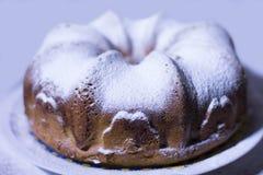 Cake met gepoederde suiker royalty-vrije stock afbeelding