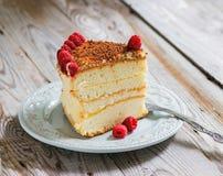 Cake met geraspte chocolade op bovenkant en framboos royalty-vrije stock afbeeldingen