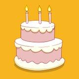 Cake met kaarsen vectorillustratie Stock Afbeeldingen