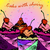 Cake met kers en kop Stock Foto