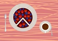 Cake met kop van koffie Stock Afbeelding