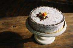 Cake met papaverzaden en chocolade en hout Stock Fotografie