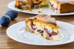 Cake met pruimen Stock Afbeeldingen