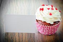 Cake met Room, Cupcake op Woody Background Stock Foto