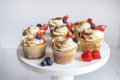 Cake met room en bestrooid met cacao, en aardbeien en bosbessen Stock Fotografie