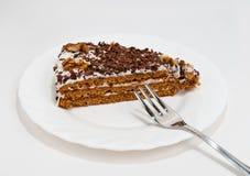Cake met Room en Okkernoot Stock Foto's