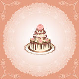 Cake met rozen Royalty-vrije Stock Afbeeldingen