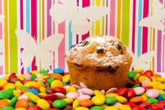 Cake met rozijnen en multi-colored suikergoed Stock Afbeelding
