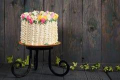 Cake met tulpen Stock Foto