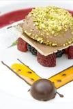 Cake met verse bessen, pistache, aardbeisau Stock Afbeelding
