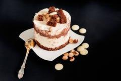 Cake met witte en donkere chocolade Royalty-vrije Stock Afbeeldingen