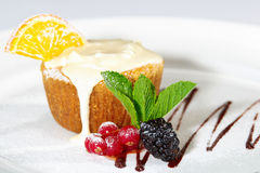 Cake with milk cream Royalty Free Stock Photo