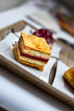 Cake. Mille feuilles on a plate Stock Photo