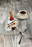Cake millefeuille on a transparent plate Stock Images