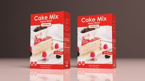 Cake mix paper packages. 3d illustration Royalty Free Stock Image