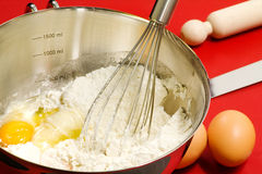 Cake mixture and confectioner utensils Stock Image