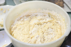 Cake mixture in large bowl. Close-up of a large bowl of cake mixture with flour folded in Stock Photo