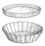 Cake mold illustration, drawing, engraving, ink, line art, vector. Illustration, what made by ink and pencil on paper, then it was digitalized stock illustration