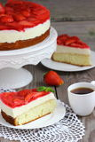 Cake mousse strawberry. On a plate. Shallow DOF stock photo