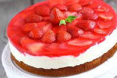 Cake mousse strawberry. On a plate. Shallow DOF royalty free stock images