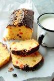 Cake with mug of milk Royalty Free Stock Photos