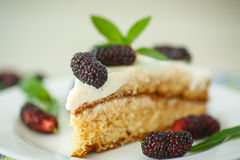 Cake with mulberry Stock Photo