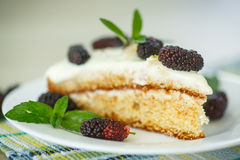 Cake with mulberry Royalty Free Stock Photos