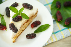 Cake with mulberry Royalty Free Stock Images