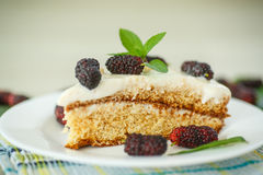 Cake with mulberry Stock Photography