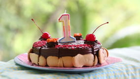 Cake for my birthday for a year with cherries with candle stock video