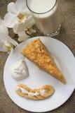 Cake Napoleon. Banana, cream on the background of burlap Stock Images